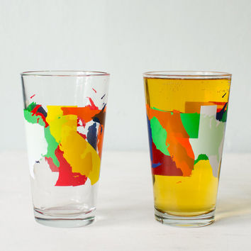 ROAD TRIP - USA States tester pint glasses - screen printed drinking glass, multicolored silhouettes