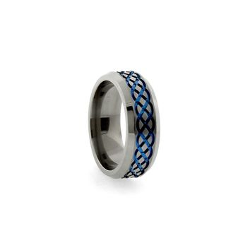 Titanium Band Ring with Blue Celtic Pattern