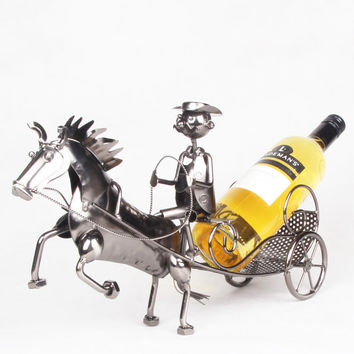 Man driving carriage Handcrafted Metal Wine Liquor Bottle Holders Christmas Xmas Holiday Gift home decor Ornaments
