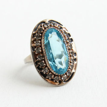 Vintage Art Deco Sterling Silver Simulated Aquamarine Ring - 1930s Adjustable Hallmarked Martelli Blue Glass Stone Black Enamel Jewelry