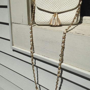 Cream Gold off white Preppy Clutch Handbag Purse