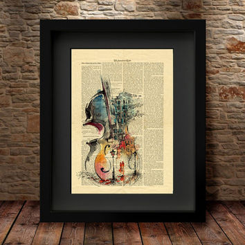 Violin Art Print, instrument Art Print, colored violin Print, Vintage Dictionary Page Style, Dictionary art, Dictionary print, Violin -20