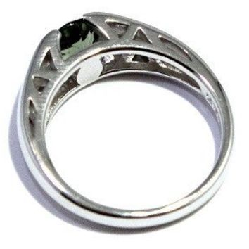 Faceted Moldavite Ring Solitaire Sizes 6-12 Tektite Jewelry 925 Sterling Silver