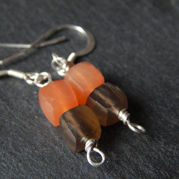 Sweet Peach and Grey Cube Dangle Earrings in Moonstone and Sterling Silver - Wire Wrapped Jewelry Handmade - Gemstone Bar Dangle Earrings