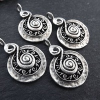 4 Ethnic Spiral Charms, Rustic Pendant, Rustic Charms, Silver Charms, Ethnic Charms, Tribal Charms, Boho Jewelry Matte Antique Silver Plated