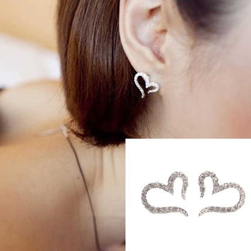 Crystal Women Jewelry Vintage Sliver Plated Small Love Imitation Diamond Stud Earrings  SM6