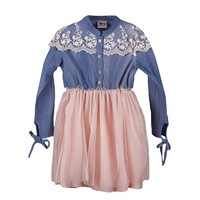 Girl's Denim And Tulle Dress With Lace Accents - Blue