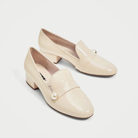 FAUX PATENT LOAFERS WITH FAUX PEARL DETAILS