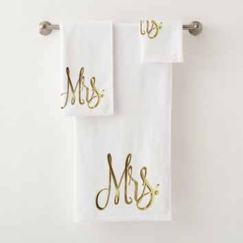 Mrs. White and Gold Look Elegant Typography Bath Towel Set