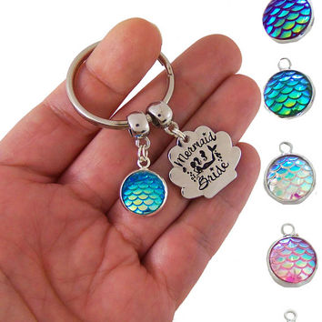 Mermaid bride keychain, mermaid wedding gift, custom mermaid wedding favor, mermaid wedding favors, mermaid bride, bridal party favors