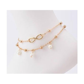 New Arrival Fashion Simple All-Match Infinity Anklet Creative Silver Plated Goldplated Double Chain Cross Shape Pretty Girl Summer Beach Travel Bracelet Jewelry [10586084948]