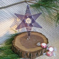 Handmade Christmas Ornament / Suncatcher - Lavender Glass Star - Squiggled Silver Wire with Silvery Clear accent beads