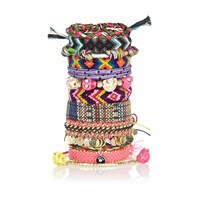 Multicoloured woven fabric bracelet pack