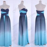 Strapless Sweetheart Long Blue and Gray Prom Dresses, Evening Gown, Wedding party Dresses, Formal Gown