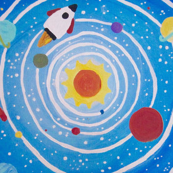 SOLAR SYSTEM - Space Themed Art for Kids Rooms, Rocket Art,  Nursery Decor, Boys room decor, gift for kid