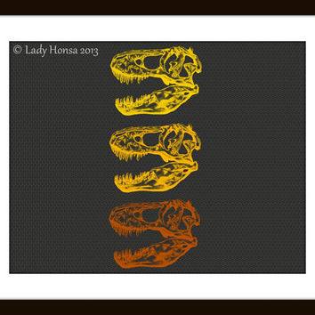 Triple T-rex skull dinosaur fossil print, grey and yellow wall art, science poster nerd art poster, dinosaur print, biology dorm decor print