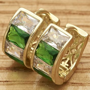 Gold Filled Womens Huggie Earring, with Green Cubic Zirconia, Polished By Folks Jewelry.