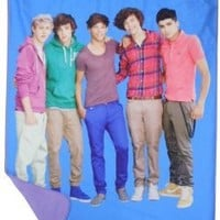 One Direction Portrait 1D Blue Fleece Throw Blanket