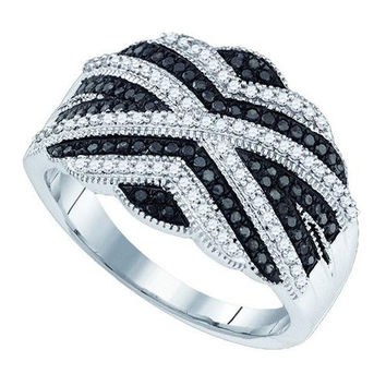 10K White-gold 0.50CT BLACK DIAMOND MICRO-PAVE RING