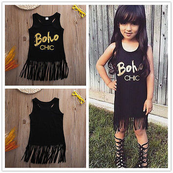 girls summer clothes Sleeveless t shirt tops kids Hollow out summer clothing for girl children tassel shirt