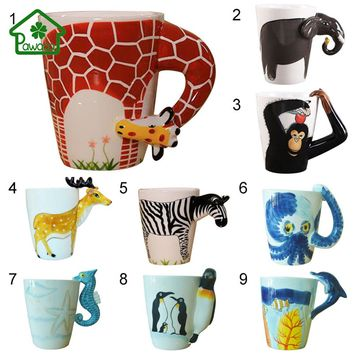 3D Animal Giraffe Shape Hand Painted Ceramic Coffee Mugs Milk Tea Cups Cute Cartoon Elephant Dolphin Penguin Sika Deer Cups Gift