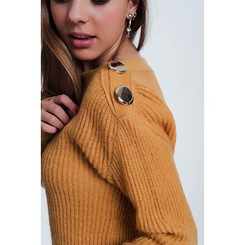 Mustard Coloured Sweater With Button Detail