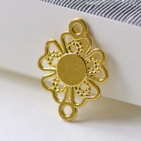 Gold Filigree Flower Connector Charms 15x20mm Set of 20 A8086