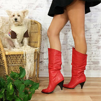Vintage 70s 80s RED Hot Leather Glam Stiletto Heel Slouchy Boots || Size 7 To 7.5