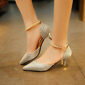 Womens Summer Ankle Pearl Chain Kitten Heel Pumps - Free Shipping