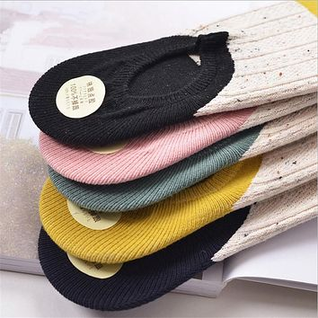 CHAOZHU High Quality Brand Patchwork Cotton Knitting Cable Vintage Women Socks Summer Deodorant Slipper Socks Calcetines Girls