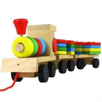 DCCKL72 Shape Of Three Section Blocks Cars Small Tractor Train Environmental Protection Wooden Toy thomas Train toys for children S54