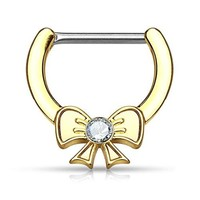 BodyJ4You Nipple Clicker Ring Bow Goldtone 14G Bar Sold individually Piercing Jewelry