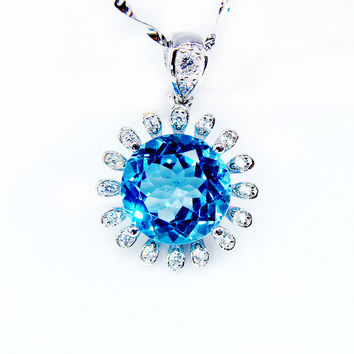2016 10mm large natural topaz pendant 925 sterling silver necklace chirstmas gift party  blue gem