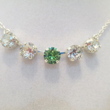 swarovski crystal necklace, NEW MOM, baby's birthstone, choose your color, choose your finish, gift with meaning