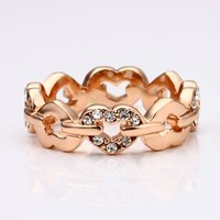 18K Rose Gold Plated Crystal Accent Heart Eternity Band Ring: Jewelry