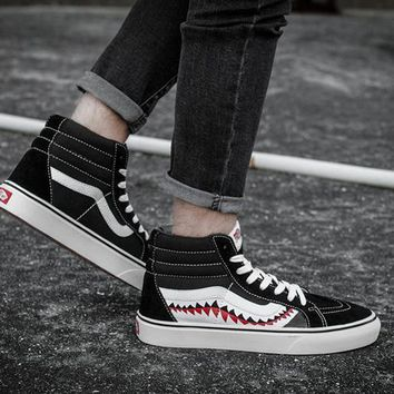 PEAPON Vans Vans Sk8-Hi x Bape Shark Customs High Top Sneaker Flats Shoes Canvas Sport Shoes