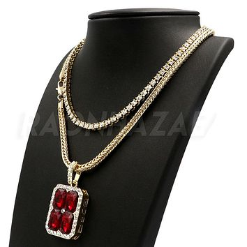 Hip Hop RED RUBY Pendant W/ Franco Chain / Tennis Choker Chain.