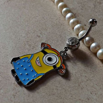 DESPICABLE ME MINION Dressed Up Belly Ring Navel Ring Body Jewelry