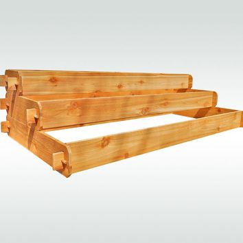 Timberlane Gardens Raised Garden Bed Kit Large 3 Tiered (1x6 2x6 3x6) Western Red Cedar Elevated Planter