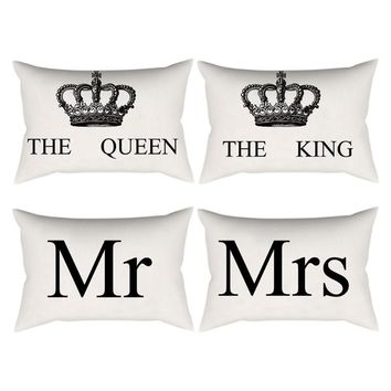 Linen Cotton Cushion Cover Crown Queen King Print Decorative Pillowcase for Sofa Seat Pillow Covers Home Decoration