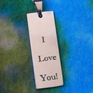 Custom Personalized Engraved Long Rectangle Pendant Necklace, Trendy, Popular, Cute Gift