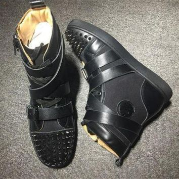 DCCK Cl Christian Louboutin Lou Spikes Style #2187 Sneakers Fashion Shoes