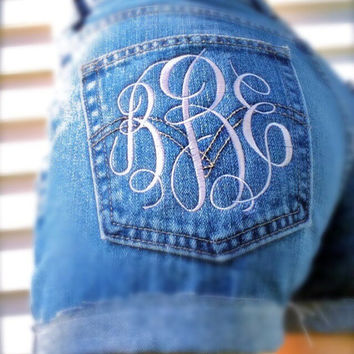 High waisted denim shorts monogrammed jean shorts Levis high wasted distressed ripped jean cut offs