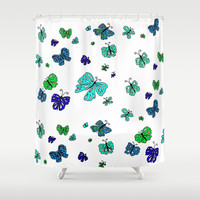 Blue Butterfly Mania Shower Curtain by  RokinRonda