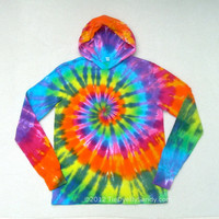 Tie Dye Hoodie Medium Rainbow Spiral Long Sleeve Hooded Tshirt