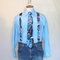 Vintage 80s SUSPENDERS and NECKTIE Crazy Print Graphic Fun Style Graffiti Business Casual Matching COMBO