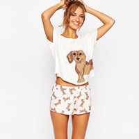 Cute Women's Sets Dachshund Dog Print 2 Pieces Set Crop Top + Shorts Knitted Stretchy Loose Tops Plus Size Elastic Waist S6706