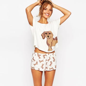 Add Pink Add Size XS Cute Women's Sets Dachshund Print 2 Pieces Set Crop Top + Shorts Elastic Waist Stretchy Loose Plus Size