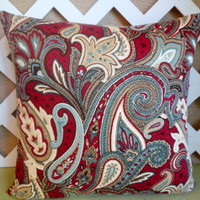Paisley Pillow Cover in Burgandy Red, Teal Blue, Ivory, and Tan