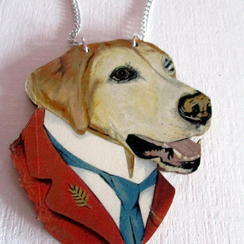 Vintage necklace Dog- Puppy dog- Golden Lab- dog lover gift- jewelry-antique necklace novelty- unique gift under 15